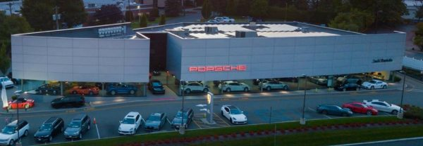 Aerial view of Jack Daniels Porsche in Upper Saddle River, NJ