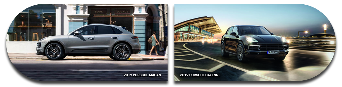 2019 Porsche Cayenne side by side with the 2019 Porsche Macan